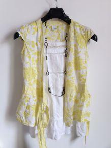 Cache coeur motifs floraux blanc jaune vert