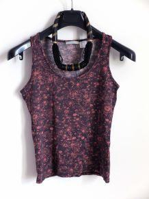 Debardeur motif floral marron rose bohème hippie chic