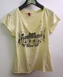 t shirt vintage 90's jaune pâle manches courtes