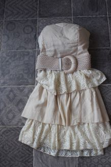Robe dentelle coton et lin