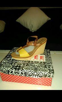 chaussures compensée d'été la fée maraboutee