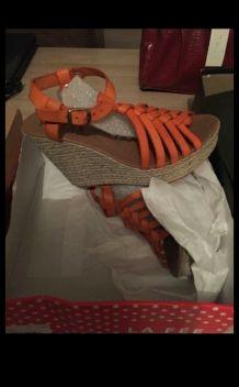 chaussures d' été compensée orange