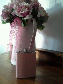 Lot de 4 flasques pailletées rose