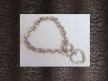 Bracelet Argenté Avec Coeur À Strass Blanc
