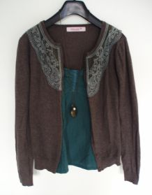Gilet cardigan viscose marron empiècement dentelle