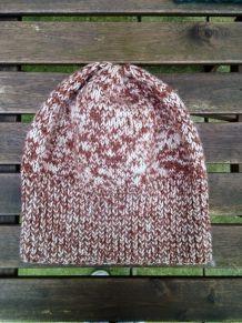 Bonnet en laine chinée marron coupe loose
