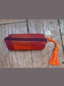 Porte Monnaie En Tissu Rouge Orangé