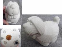 Figurine Chien En Pierre Blanche- Marbell