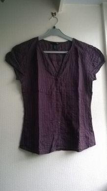 Beau chemisier violet manches courtes H&M
