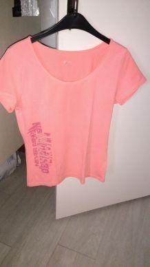 T-shirt manches courtes orange fluo