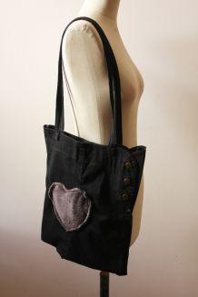 Tote bag noir Upcyclé