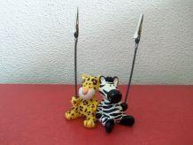 Porte photo à pince, marque Nici, 2 pinces, animaux zèbre et léopard