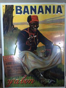 affiche en métal banania et chocolat menier