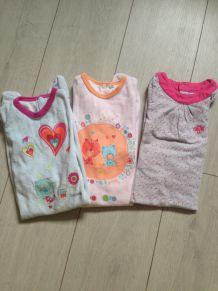Lot 3 pyjamas fille 18 mois Obaibi