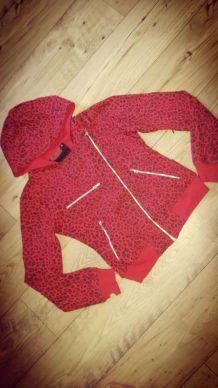 Veste / Sweat zippé style perfecto Poizen Industries Léopard rouge