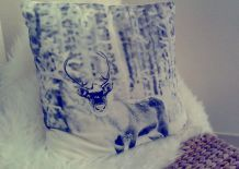 Coussin cerf blanc