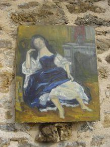ancien peinture à l'huile d'une femme