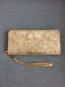 Portefeuille beige doré