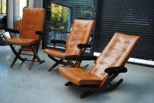 3 Fauteuils en cuir vintage