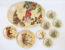 vaisselles bambou gravure chinoises