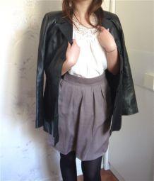 Veste longue manteau en cuir véritable noir vintage T36