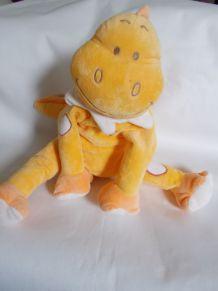 peluche dinosaure orange Bengy 27 cm assis