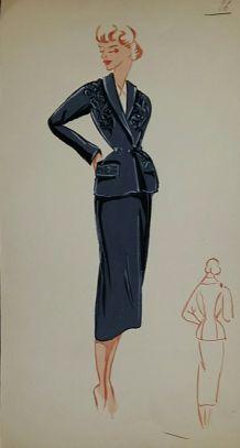 Croquis Mode 1950 / Tailleurs et robes (Bleu)