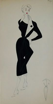 """Croquis Mode 1950 / Robes noires """"La Petite Robe Noire"""" + Encadrement d'un des croquis"""