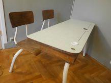 Bureau d'écolier vintage bois et formica