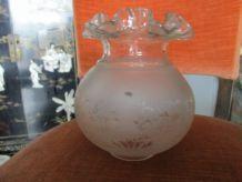 Lot de 4 globes en verre gravé
