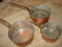 Cuivre ancien sautoir et casserolle