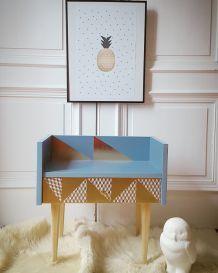 Table d'appoint/chevet vintage relooké scandinave