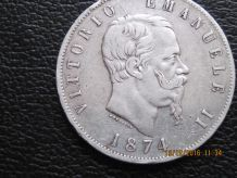 piece argent 5lire 1874