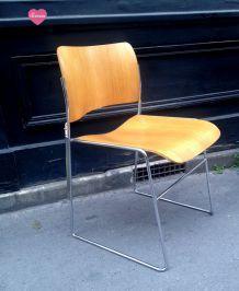 Lot de 6 chaises scandinaves bois et chrome-1970