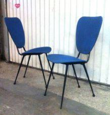 Chaises en skaï bleu vintage 1950