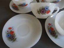 6 tasses à café Arcopal - modèle Pétunia