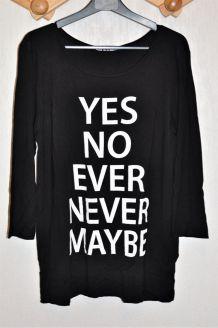 T-shirt à manche longue noir avec message blanc -  Taille L