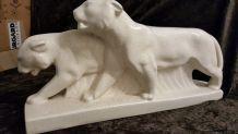 Lion ceramique craquelé