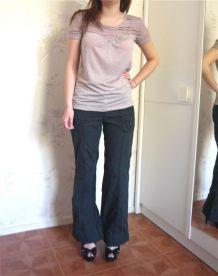 Pantalon noir poches coupe droite bootcut Mim sexy femme taille 36 38