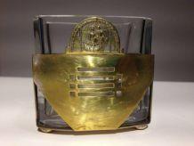 Petit pot décoratif en verre métal doré vintage