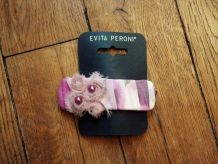 Barrette En Tissu Et Soie Rose - Neuf- Evita Peroni