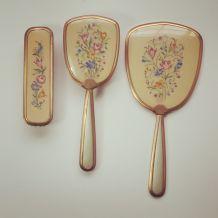Ancien set à main miroir et 2 brosses