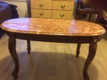 Table basse en merisier avec plateau en marbre italien