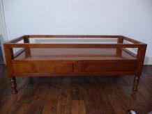 Table Basse Vintage Rectangulaire En Bois Avec 2 Tiroirs Avec 4 Pieds