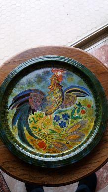 très beau plat décor coq