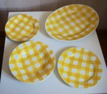 Ensemble vaisselle Digoin Ecossais jaune