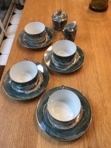 service à thé porcelaine décor irisé vert fait main