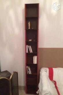 Modules étagères bibliothèque métal brossé verni et bois