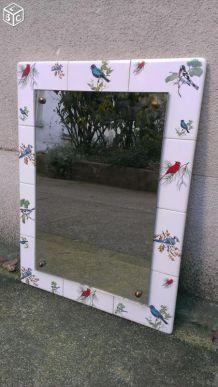 Miroir céramique oiseaux années 50