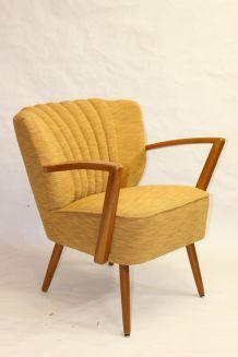 Fauteuil vintage année 50 tissu Lelievre jaune